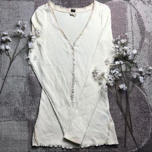 Free People Crochet Button Knit Top